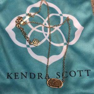 Kendra Scott necklace. Rose gold/druzy stone